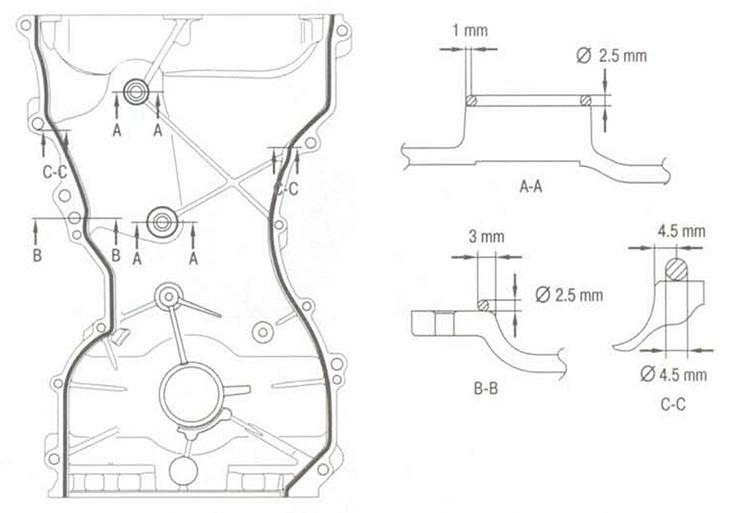 Схема нанесения герметика на крышку газораспределительного механизма
