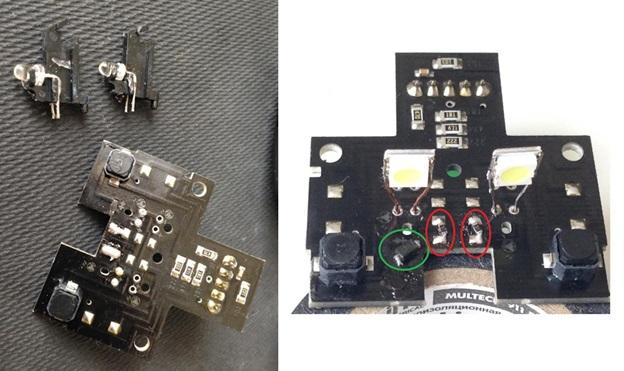 Светодиоды и резисторы, подлежащие замене