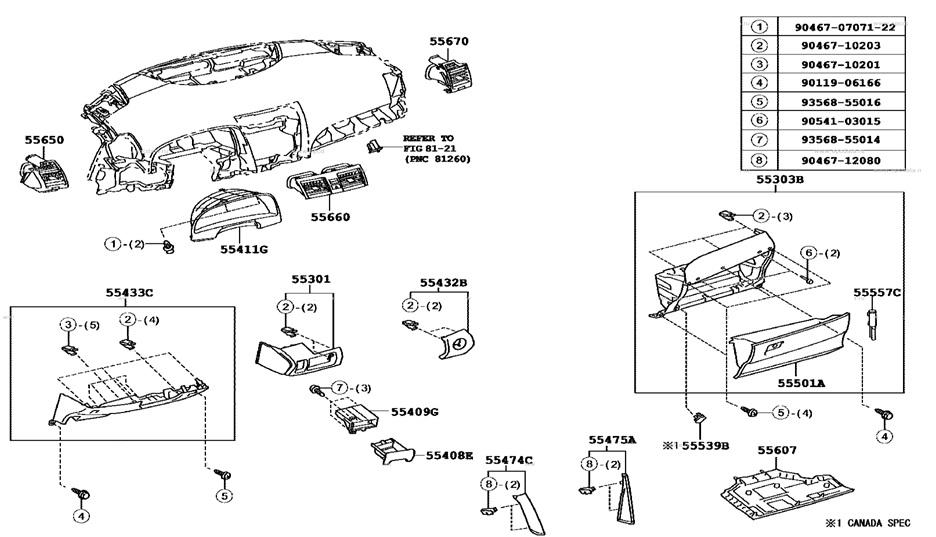 Схема расположения элементов крепежа приборной панели