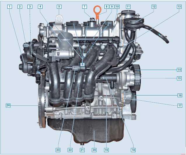 Вид двигателя с обратной стороны