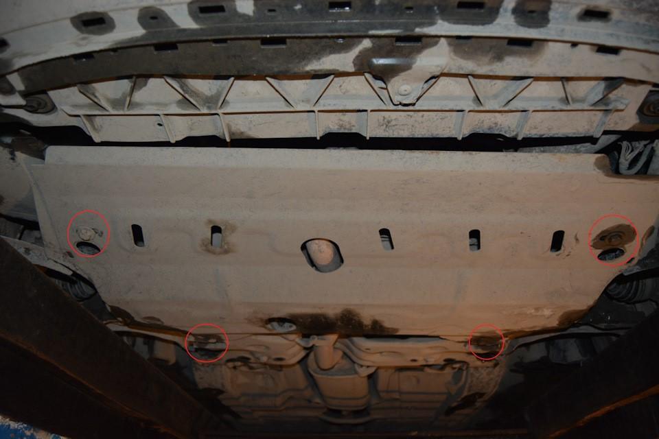 Демонтаж защиты картера двигателя