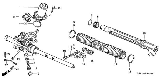 Элементы рулевой рейки