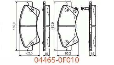 Размер колодок 04465-0F010