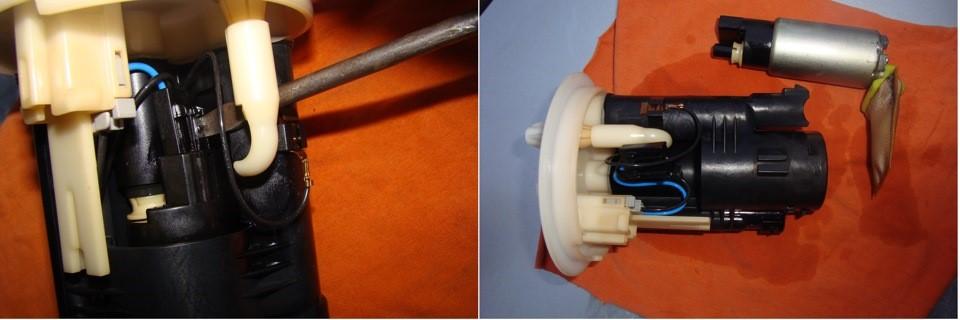 Рассоединение клемм и изъятие электробензонасоса