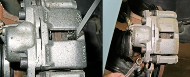 Вдавливание поршня внутрь тормозного цилиндра