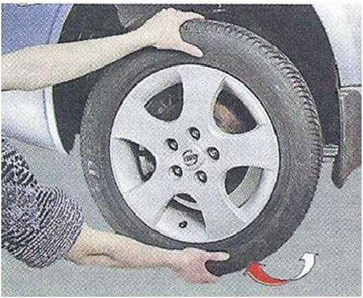 Проверка состояния шаровой опоры путем пошатывания колеса