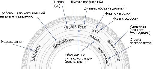 Расположение информации на боковине шины