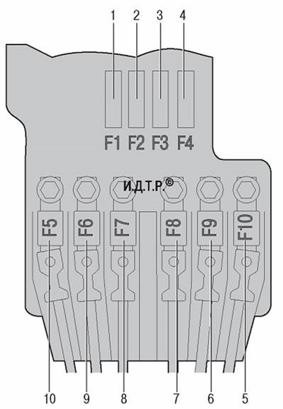 Схема второго монтажного блока моторного отсека (АКБ клемма +)