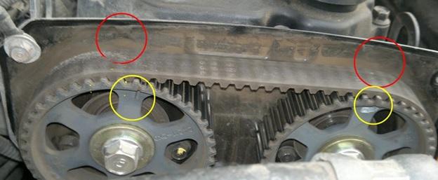 Обнаруженный сдвиг на несколько зубцов, который потребуется устранить во время установки нового ремня ГРМ