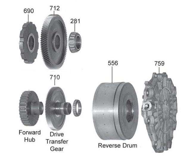 Связка: барабан, реверс и задняя крышка