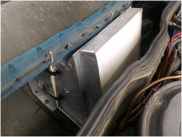 Смонтированный на ВАЗ 2109 адаптер с салонным фильтром
