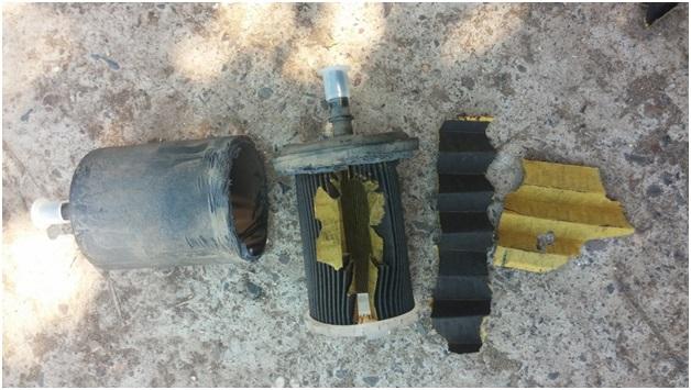 Разобранный топливный фильтр тонкой очистки