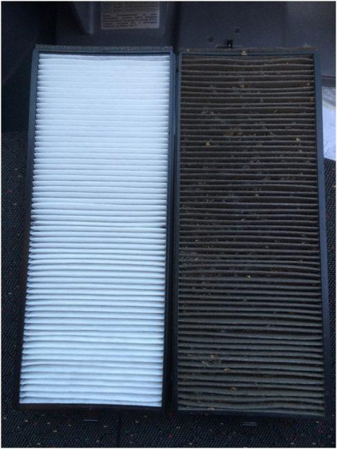 Сравнение старого и нового салонный фильтров