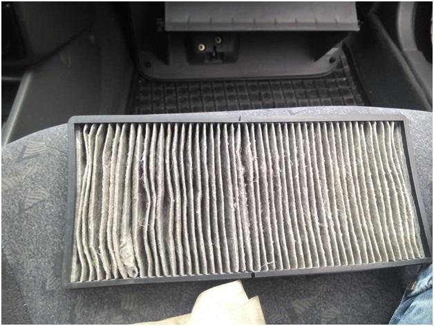 Загрязненный салонный фильтр Kia Spectra