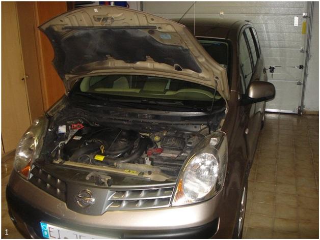 Расположение топливного фильтра на Nissan Note с дизельным двигателем