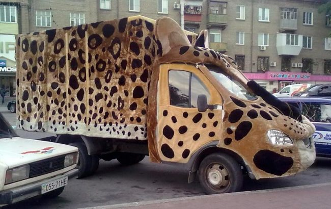 Меховая шубка у машины