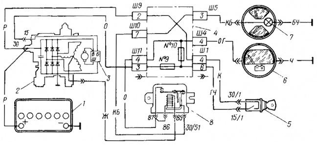 Схема электрической цепи ВАЗ 21099, ВАЗ 2109, ВАЗ 2108